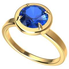 18 Karat Yellow Gold Blue Sapphire Ring
