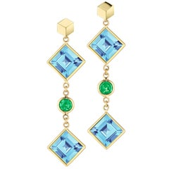 Paolo Costagli 18 Karat Yellow Gold Blue Topaz and Tsavorite Florentine Earrings