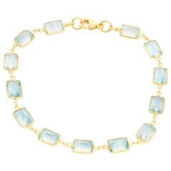 18 Karat Yellow Gold Blue Topaz Bracelet