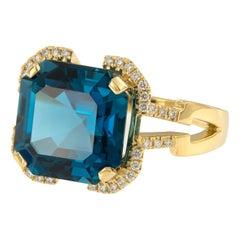 18 Karat Yellow Gold Blue Topaz Diamond Gossip Collection Ring by Goshwara