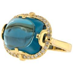 18 Karat Yellow Gold Blue Topaz Diamond Rock-N-Roll Collection Ring by Goshwara