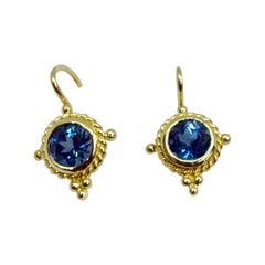 18 Karat Yellow Gold Blue Topaz Drop Earrings