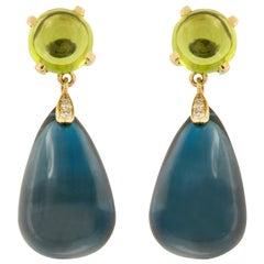 18 Karat Yellow Gold Blue Topaz Peridot Diamond Drop Earrings by Goshwara