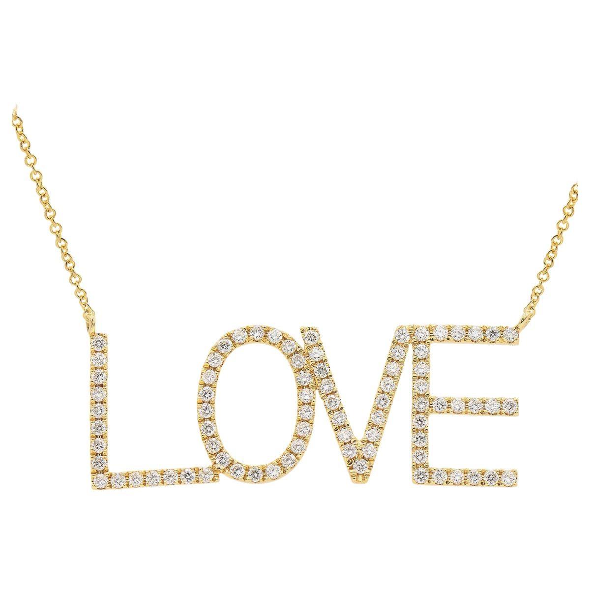 18 Karat Yellow Gold Bold LOVE Necklace