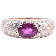18 Karat Yellow Gold Boucheron Ruby and Diamond Ring