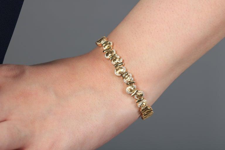 Romantic 18 Karat Yellow Gold Bracelet For Sale
