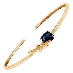 18 Karat Yellow Gold Bracelet with 4.32 Carats Blue Sapphire