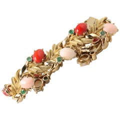 18 Karat Yellow Gold Bracelet with Red/Pink Meditteranean Coral and Emeralds