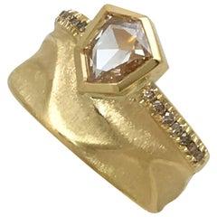 18 Karat Yellow Gold Bridal Ring with a 0.85 Carat Champagne Rose Cut Diamond