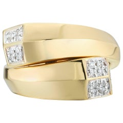 18 Karat Yellow Gold Brillante Contrarie Ring with Diamonds, 0.22 Carat