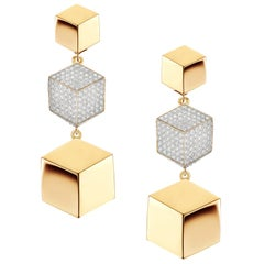18 Karat Yellow Gold Brillante Earrings with Diamonds, 0.89 Carat