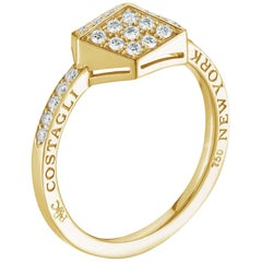 Paolo Costagli 18 Karat Yellow Gold Brillante Stackable Ring with Diamonds