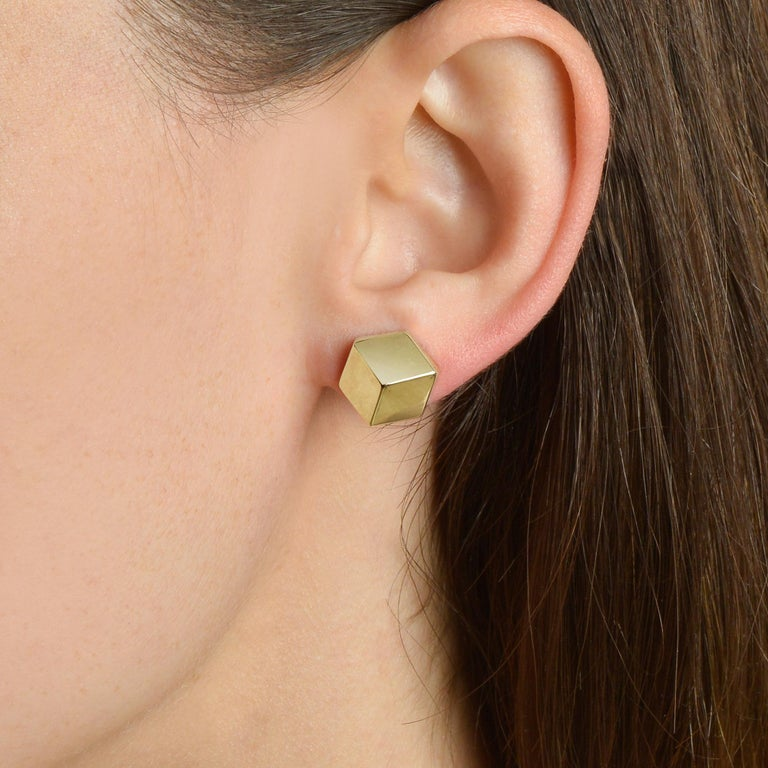 Contemporary Paolo Costagli 18 Karat Yellow Gold Brillante Stud Earrings, Grande For Sale
