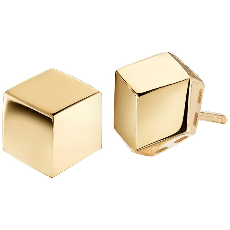 Paolo Costagli 18 Karat Yellow Gold Brillante Stud Earrings, Grande For Sale