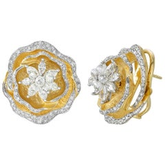 18 Karat Yellow Gold, Brilliant Cut Diamond Earrings