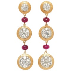 18 Karat Yellow Gold, Brilliant Cut Diamonds and Ruby Earrings