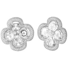 18 Karat Yellow Gold, Brilliant Cut Diamonds and Diamond Slice Ear Studs