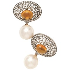18 Karat Yellow Gold, Brilliant Cut Diamonds, Golden Topaz and Pearl Earrings