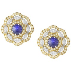 18 Karat Yellow Gold, Brilliant Cut Diamonds and Tanzanite Studded Ear Clips