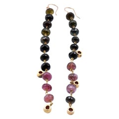 18 Karat Yellow Gold Briolette Tourmaline Drop Earrings