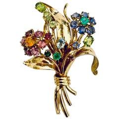 "18 Karat Yellow Gold Brooch ""Blumenstraus"" XL Bologna Italy 1950 Precious Stones"
