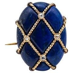 18 Karat Yellow Gold Brooch with Diamond and Lapis Lazuli Cabochon