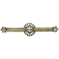 18 Karat Yellow Gold Brooch with Diamonds and Freshwater Pearls, 1950s