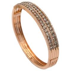 18 Karat Yellow Gold Brown and White Diamonds Garavelli Bracelet