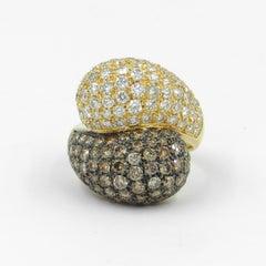 18 Karat Yellow Gold Brown and White Diamonds Pavè Contrarier Garavelli Ring