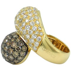 18 Karat Yellow Gold Brown and White Diamonds Pavè Contrarier Garavelli Ring