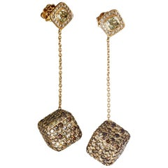 18 Karat Yellow Gold Brown Diamonds Earrings Aenea Jewellery