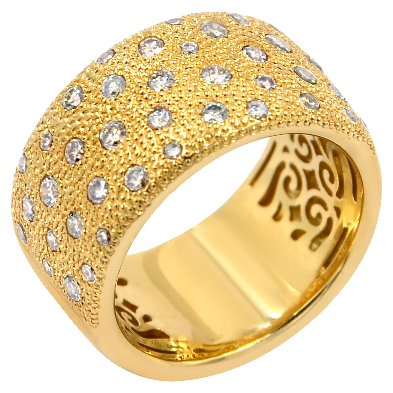 18 Karat Yellow Gold Brown Diamonds Garavelli Band Ring