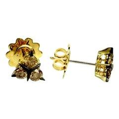 18 Karat Yellow Gold Brown Diamonds Garavelli Stud Earrings