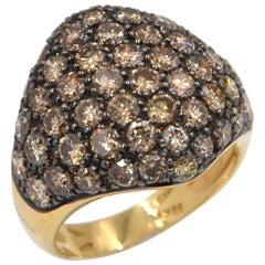 18 Karat Yellow Gold Brown Diamonds Pavè Domed Garavelli Ring