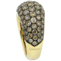 18 Karat Yellow Gold Brown Diamonds Pavè Domed Garavelli Ring