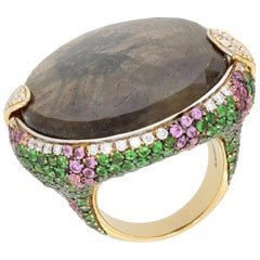 18 Karat Yellow Gold Brown Sapphire Tsavorite Pink Sapphire Ring by Niquesa