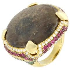 18 Karat Yellow Gold Brown Sapphire Tsavorite Tourmaline Venice Ring by Niquesa