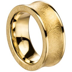 Furrer Jacot 18 Karat Yellow Gold Brushed Chunky Concave Band