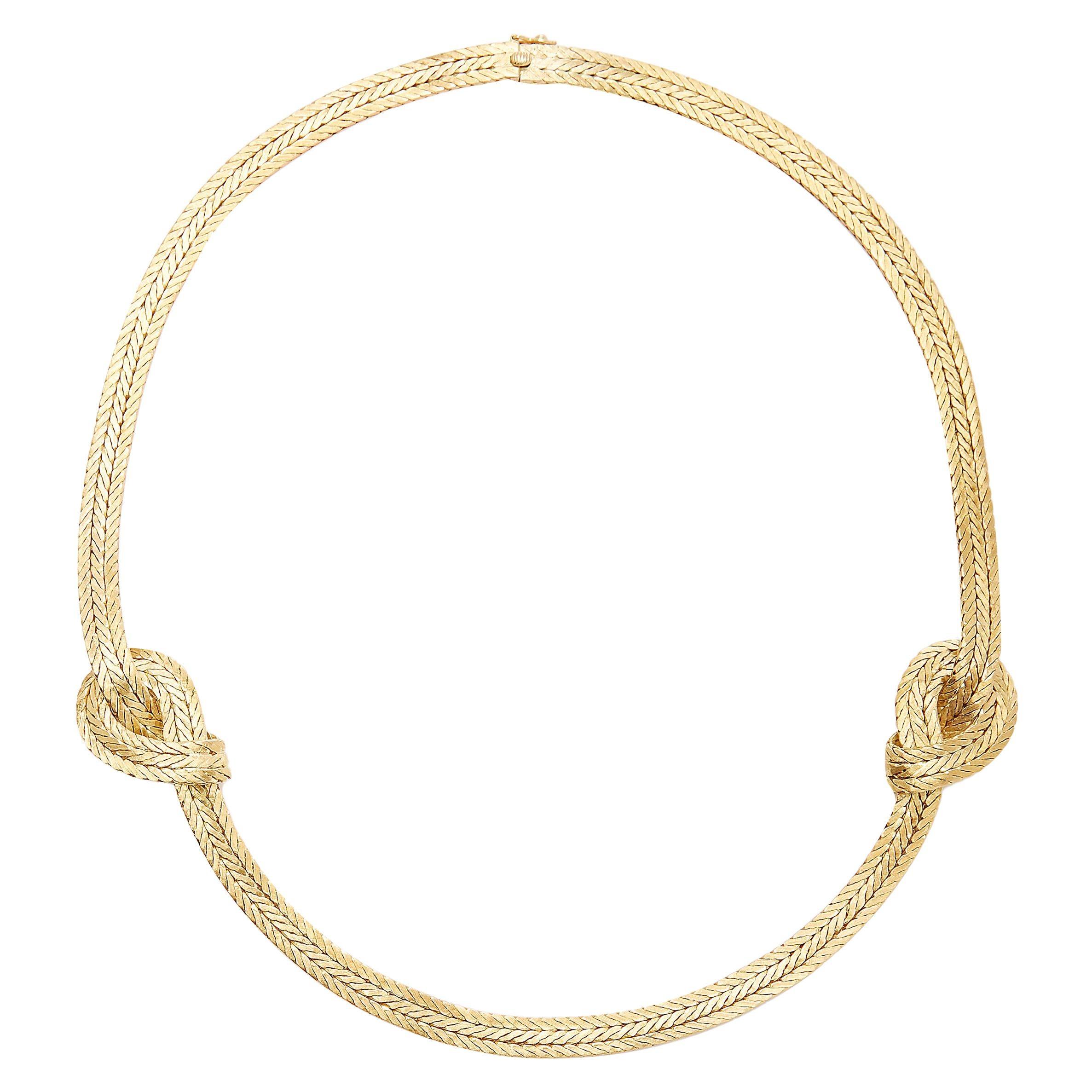 18 Karat Yellow Gold Buccellati Oro Double Knot Necklace