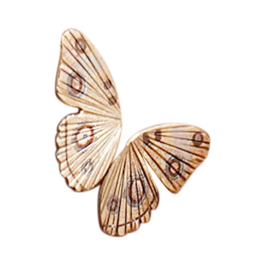 18 Karat Yellow Gold Buckeye Butterfly Wing Earrings