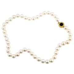 18 Karat Yellow Gold Bulgari Pearl Necklace