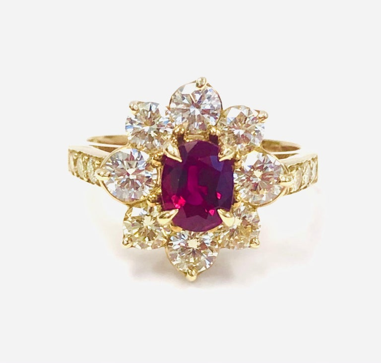 Contemporary 18 Karat Yellow Gold Burma Ruby and Diamond Ring For Sale