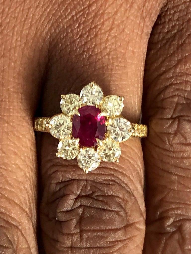 Oval Cut 18 Karat Yellow Gold Burma Ruby and Diamond Ring For Sale