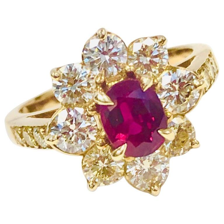 18 Karat Yellow Gold Burma Ruby and Diamond Ring For Sale