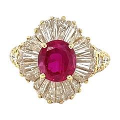 18 Karat Yellow Gold Burmese 2.52 Carat Ruby and 3.64 Carat Diamond Ring