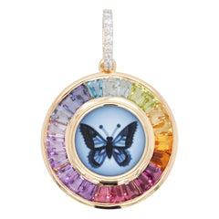 18 Karat Gold Butterfly Intaglio Multicolor Rainbow Baguette Circle Pendant