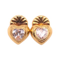 18 Karat Yellow Gold Button Heart Earrings with Stones