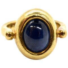 18 Karat Yellow Gold Cabochon Blue Sapphire Ring