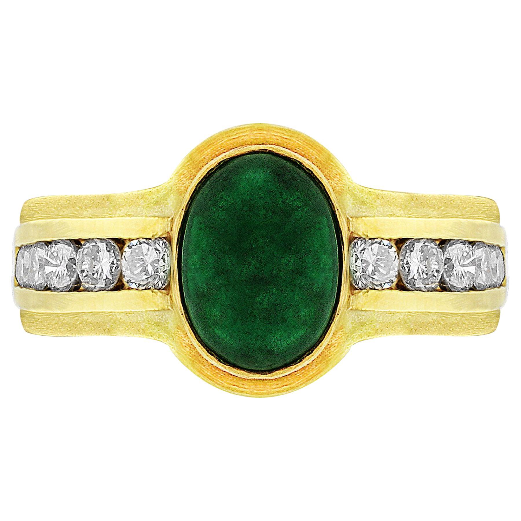 18 Karat Yellow Gold Cabochon Emerald Diamond Ring