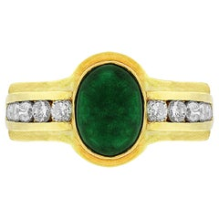 18 Karat Yellow Gold Cabochon Emerald Diamond Ring